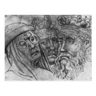 Heads of three men, from the The Vallardi Album Postcard