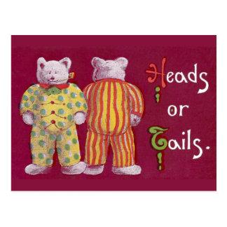 Heads Or Tails! Teddy Bears Postcard
