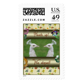 Heads Up, White Peacocks Elopement Announcement Stamp