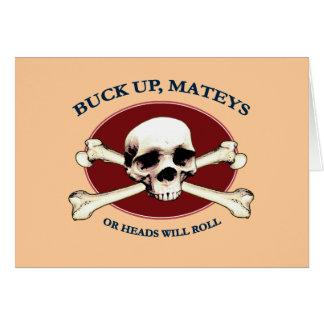 Heads Will Roll Pirate Skull Card