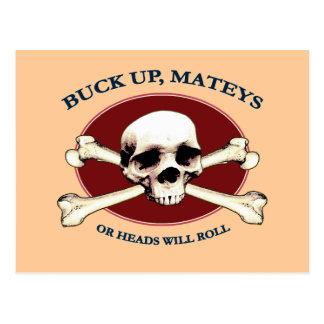 Heads Will Roll Pirate Skull Postcard