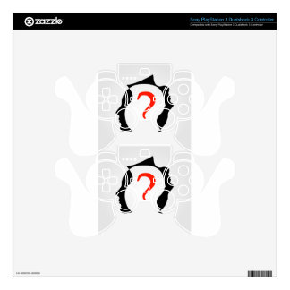heads with a question mark decal for PS3 controller