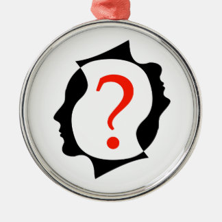 heads with a question mark metal ornament