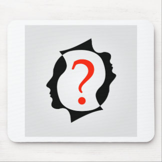 heads with a question mark mouse pad