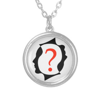 heads with a question mark silver plated necklace