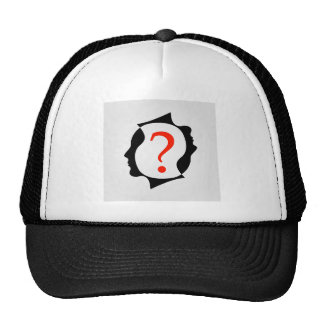 heads with a question mark trucker hat