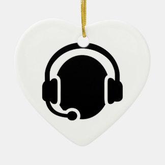 Headset headphones ceramic ornament