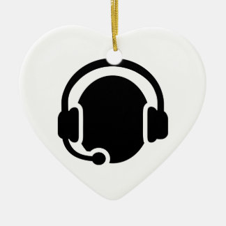 Headset headphones Double-Sided heart ceramic christmas ornament