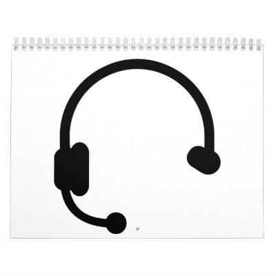 Headset headphones wall calendar