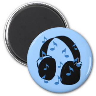 Headset with Musical Notes for Baby in Blue Fridge Magnets