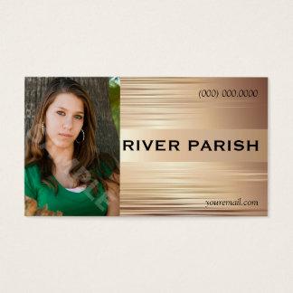 Headshot Business Card Copper Metallic Design