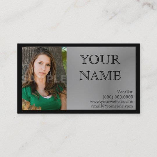 Headshot Business Cards Black Gray