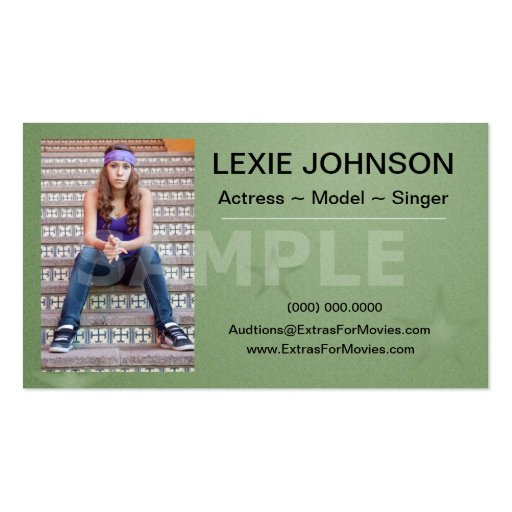 Headshot Business Cards Models & Actors 2 Sided