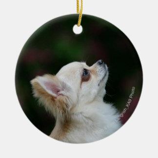 Headshot de pelo largo 2 de la chihuahua adorno navideño redondo de cerámica