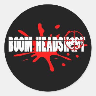 Headshot   del auge pegatina redonda