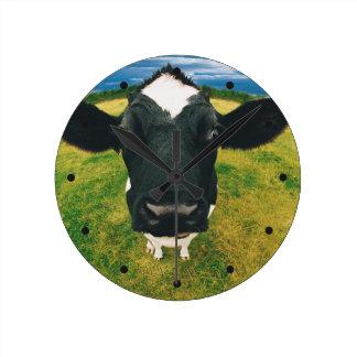 Headshot of Friesian Cow Round Clock
