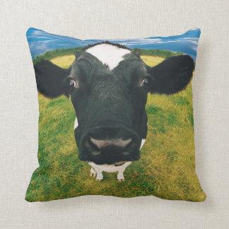 Headshot of Friesian Cow Throw Pillow
