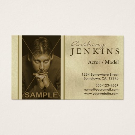 Headshot Sepia Textured Business Cards Template Actor Profile Cards