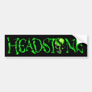 HEADSTONE Green Head Skull Logo Car Bumper Sticker
