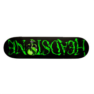 HEADSTONE Green Skull Logo Skateboard