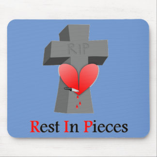 Headstone Heart Rest in Pieces Mouse Pad
