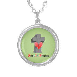 Headstone Heart Rest in Pieces Round Pendant Necklace