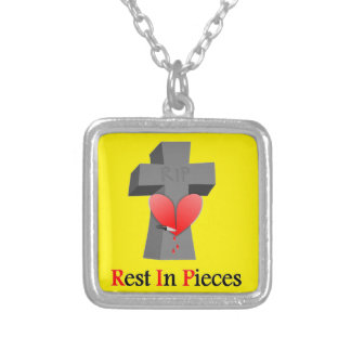 Headstone Heart Rest in Pieces Square Pendant Necklace