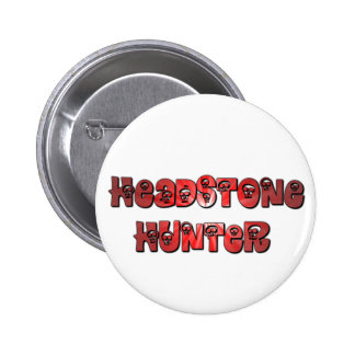 Headstone Hunter button in red and white