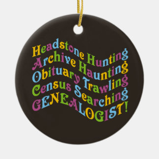 Headstone Hunting Genealogist Double-Sided Ceramic Round Christmas Ornament
