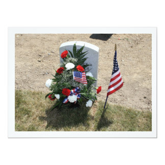 Headstone With Flowers Card