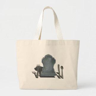 HeadstoneAndSilverware070315.png Large Tote Bag