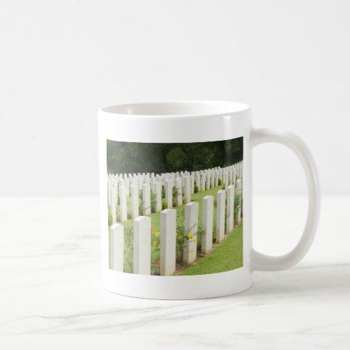 Headstones in a war cemetery classic white coffee mug