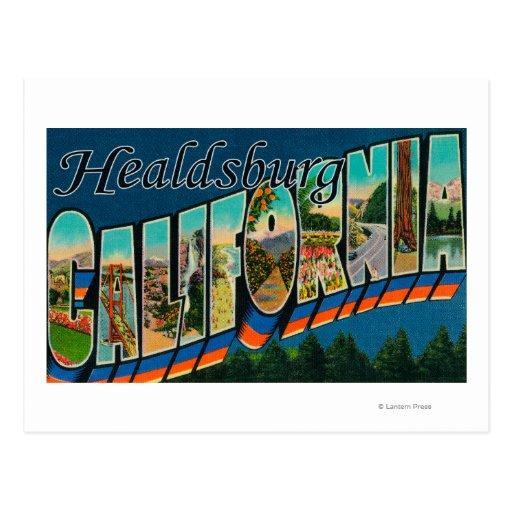 Healdburg, California - Large Letter Scenes Postcard