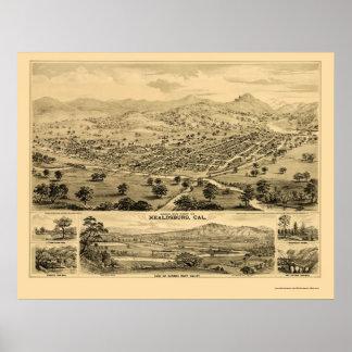 Healdsburg, CA Panoramic Map - 1876 Poster
