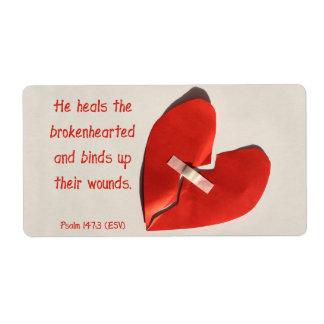 Healer of Broken Hearts Psalm 147:3 Scripture Art Custom Shipping Labels