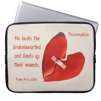 Healer of Broken Hearts Psalm 147:3 Scripture Art Laptop Sleeve