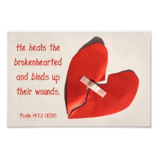 Healer of Broken Hearts Psalm 147:3 Scripture Art Photo Print