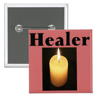 """""""Healer"""" With Soft Glowing Candle Pinback Button"""