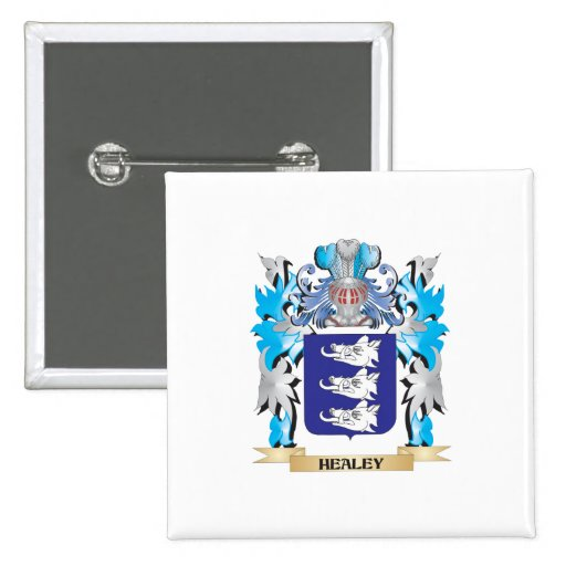 Healey Coat of Arms - Family Crest Pinback Buttons