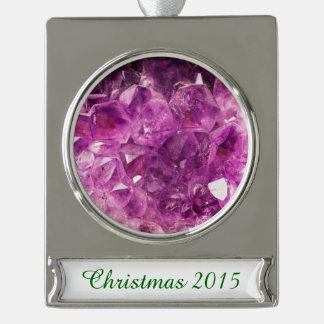 Healing Amethyst Gemstone Silver Plated Banner Ornament