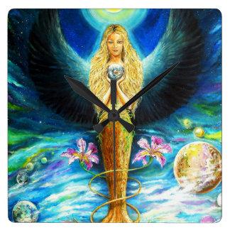 Healing Angel Square Wall Clock