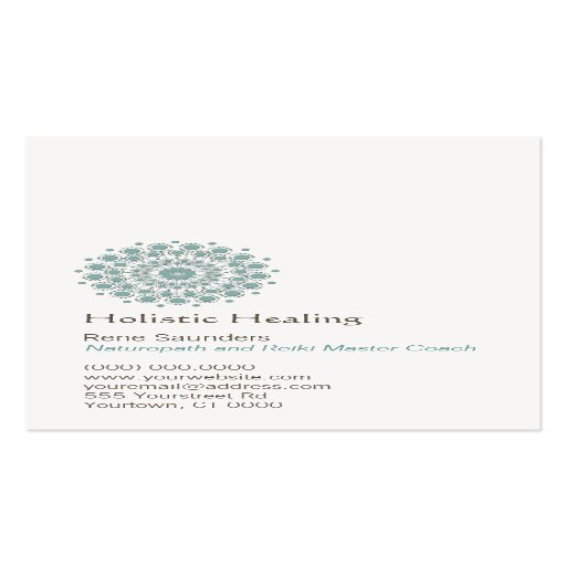 Healing arts and natural healing circle logo double sided for Circle business card template