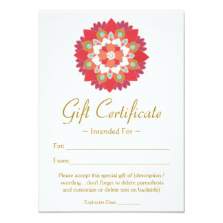 Healing Arts  Red Lotus Flower Gift Certificate Card