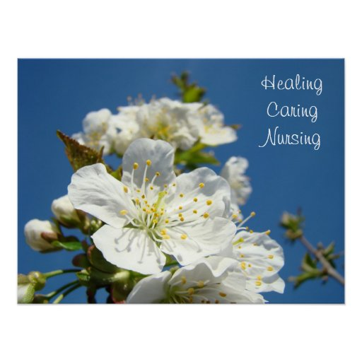Healing Caring Nursing posters Blue Sky Blossoms
