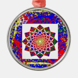 Healing CHAKRA : High Energy Art Boundryless Round Metal Christmas Ornament