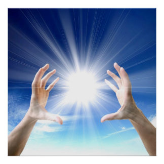 Healing hand on blue background with white energy poster