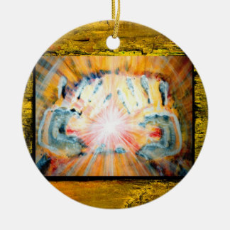 Healing Hands & Cross of Protection Ceramic Ornament