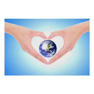 Healing hands embracing earth by healing love poster