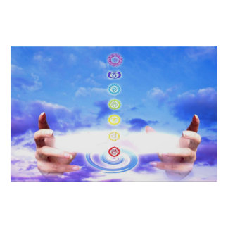 Healing hands, energy, chakra symbols, blue poster