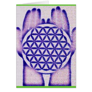 Healing Hands Holding Flower of Life. Card